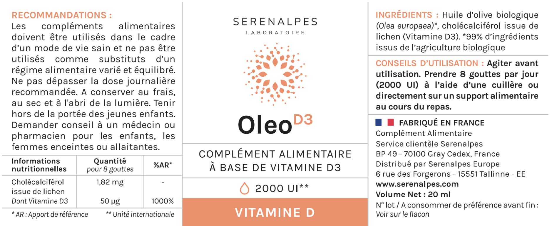 etiquette oleo d3