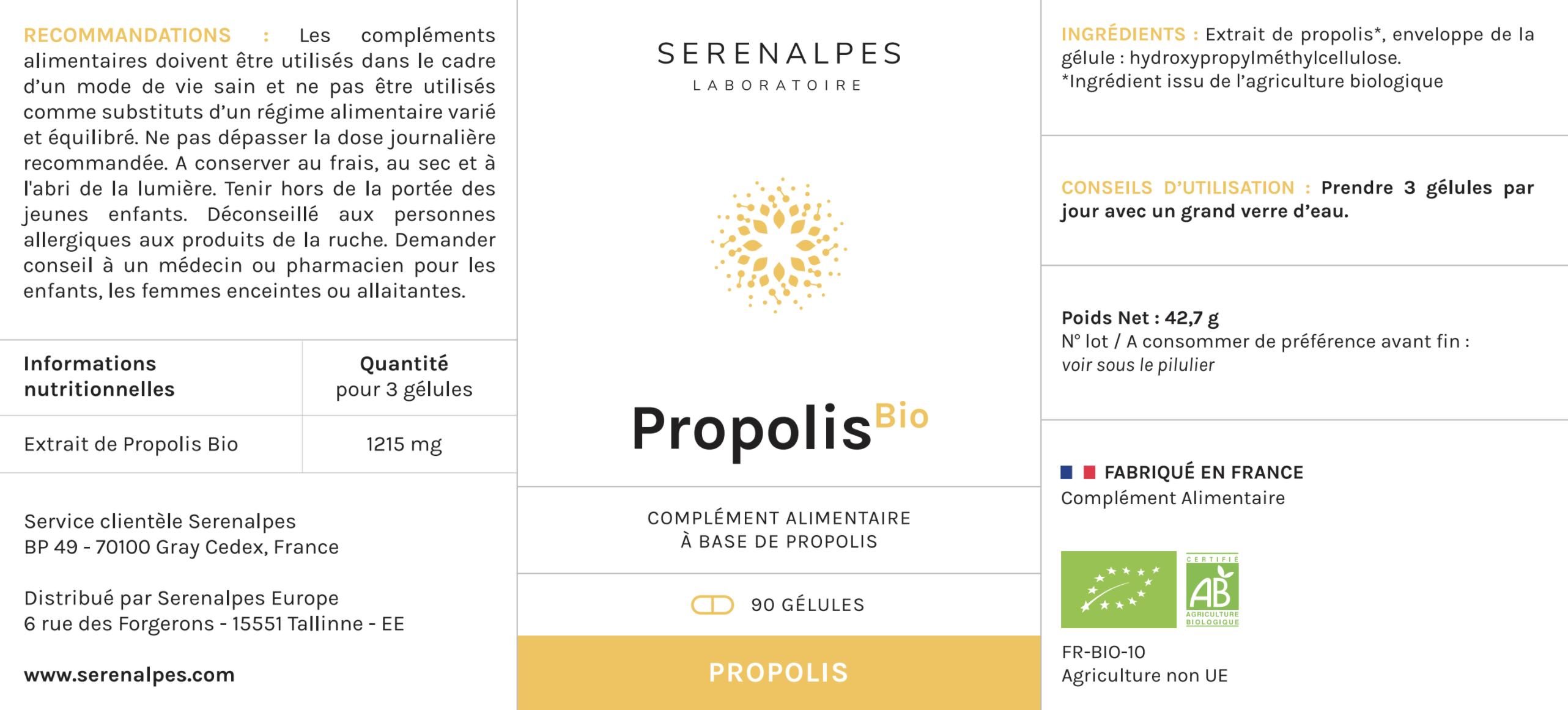 etiquette propolis